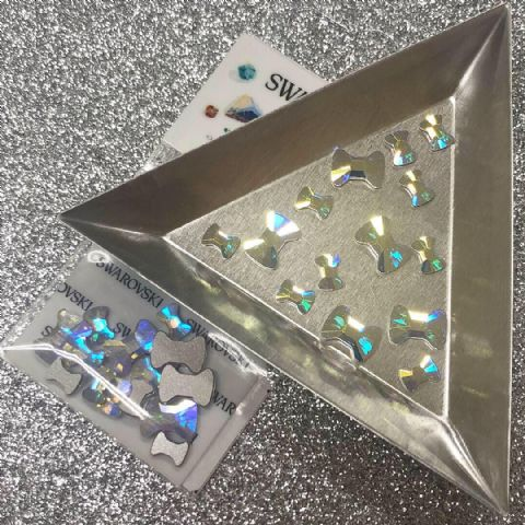 Mixed Pack of 15pc Swarovski Flatback Bow Ties, Mixed Sizes, Non-Hotfix, Crystal AB.